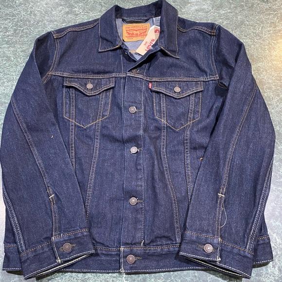 Levis Mens Trucker Jacket Dark Blue Men's Sz XL